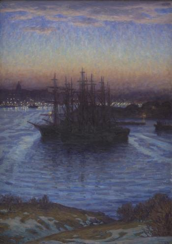 Prins Eugen (1865-1947), Ships in Winter, 1908. KMS3401
