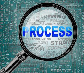 Process Magnifier Indicates Task Proceedure 3d Rendering