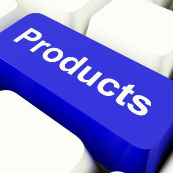 Products Computer Key In Blue Showing Internet Shopping Goods