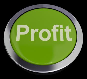 Profit Computer Button In Green Showing Earnings And Investment