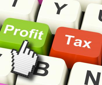 Profit Tax Computer Keys Show Paying Company Taxes