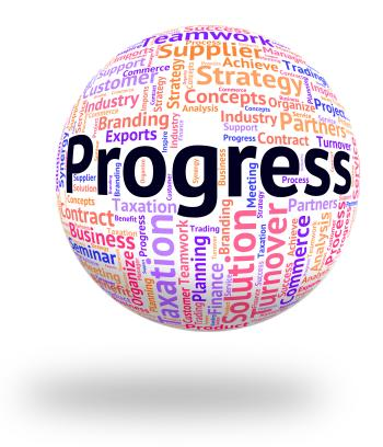 Progress Word Indicates Words Growth And Headway