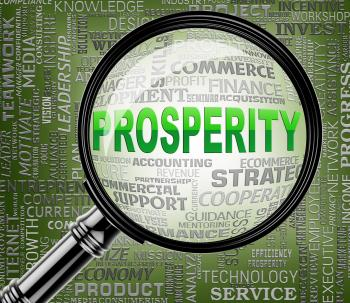Prosperity Magnifier Indicates Investment Profits 3d Rendering