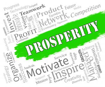 Prosperity Words Shows Profits Wealthy And Riches