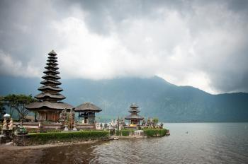 Pura Ulun Danu temple on a lake Beratan