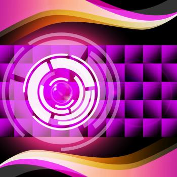 Purple Circles Background Shows Record Player And Music