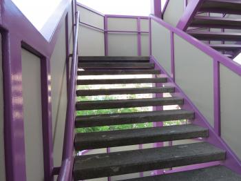 Purple emergency stairs