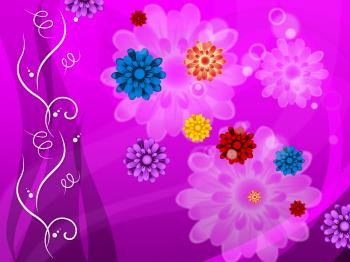 Purple Floral Background Means Colorful Flowers And Petals