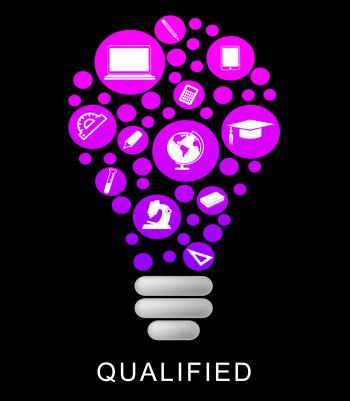 Qualified Lightbulb Represents Proficient Qualifications And Skilful