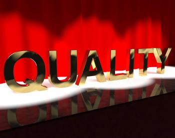 Quality Word On Stage Showing Excellence Perfection And Improvement
