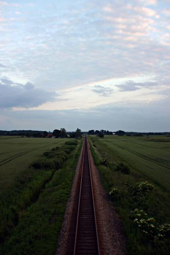 Rail road at evening