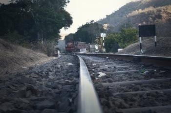 Railroad Tracks Amidst Trees Against Sky