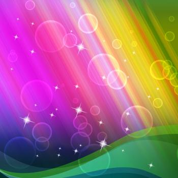 Rainbow Bubbles Background Shows Circles And Ripples