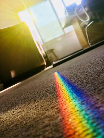 Rainbow Color Patch on Area Rug