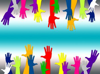 Reaching Out Represents Hands Together And Arm