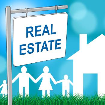 Real Estate Sign Indicates For Sale And Buildings