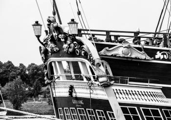 Rear of a sailing ship