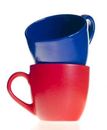 Red and blue cups