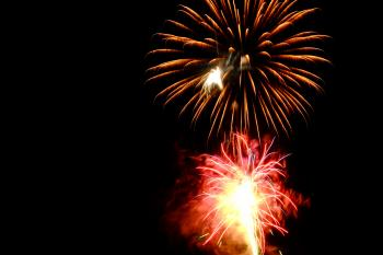 Red and Brown Fireworks Display Photo