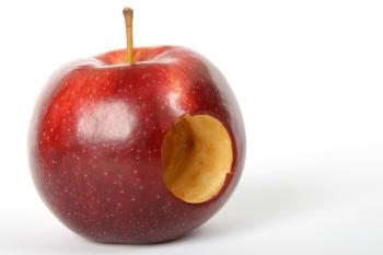 Red Apple Fruit With Hole