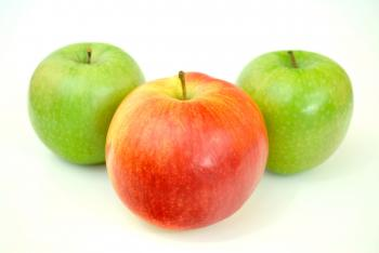 Red Apple With Two Green Apples