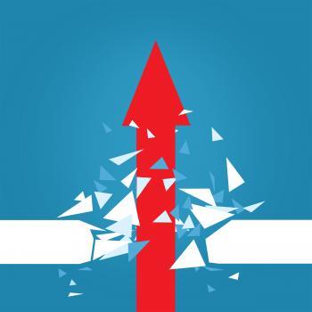 Red Arrow Blasting Through Barrier
