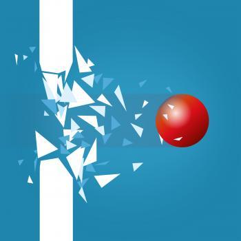 Red Ball Blasting Through Barrier