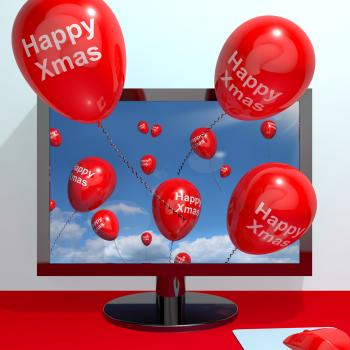 Red Balloons With Happy Xmas From Computer Screen For Online Greetings