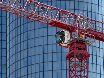 Red construction crane