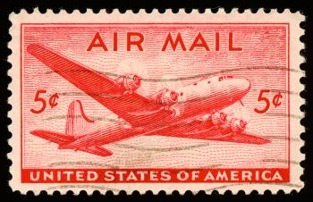 Red DC4 Skymaster Stamp
