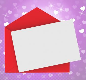 Red Envelope With Note card Shows Romance And Love