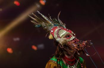 Red Grey Feathered Festival Mask