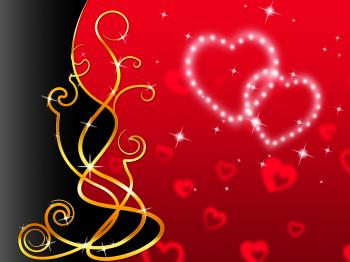 Red Hearts Background Means Love Dear And Floral