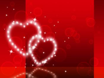 Red Hearts Background Shows Fondness Special And Sparkling