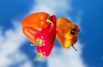 Red Hot Chili Pepper Near Orange Pepper