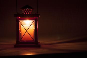 Red lantern at night