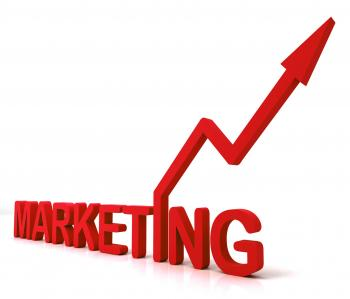 Red Marketing Word Means Promotion Sales And Advertising