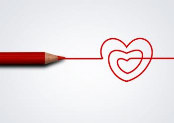 Red pencil drawing heart - Love and care concept