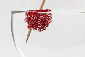 Red Raspberry on Water With Brown Stick