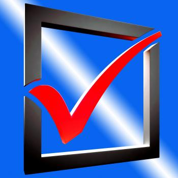 Red Tick Shows Approved Excellence