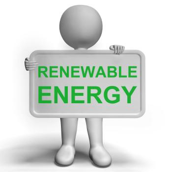 Renewable Energy Sign Showing Recycling Or Reuse