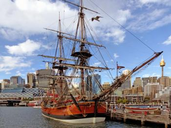 Replica of James Cook's HMB Endeavour. Sydney.