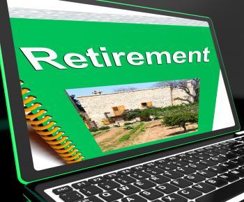 Retirement Book On Laptop Showing Pension Plans
