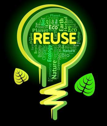 Reuse Lightbulb Represents Go Green And Eco