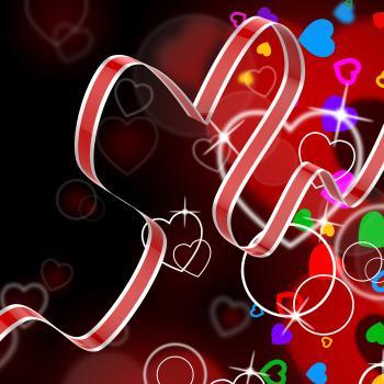 Ribbon Heart Shows Celebration Decorative Or Festive Decorations