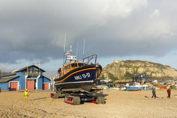 RNLB Cosandra, a Shannon class lifeboat, visits Hastings Lifeboat Station.
