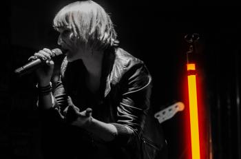 Rock Band Lead Singer Wearing Black Jacket and Wireless Microphone