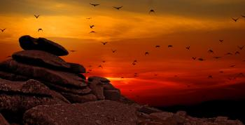 Rock Formation With Sunset Photo