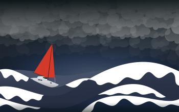 Rough Seas - Alone in the Storm - Challenge and Danger Concept