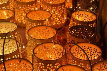 Round Brown Wooden Lanterns